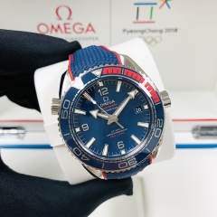 "OMEGA Olympic Games Collection ""Pyeong Chang 2018""43.5MM 不銹鋼 藍面 機械自動 522.32.44.21.03.001"